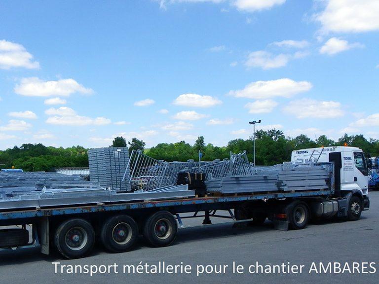 Transport métallerie chantier ambares